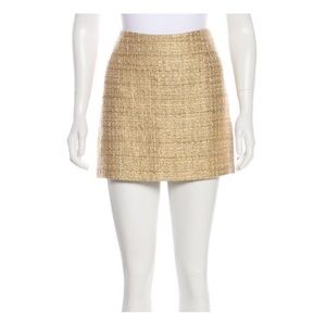 Alice+Olivia Gold Tweed Mini Skirt Size 10